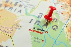Iraq map. Macro shot of iraq map with push pin Royalty Free Stock Images