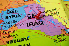Iraq map. Macro shot of Iraq map with push pin Royalty Free Stock Image