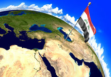 Iraq national flag marking the country location on world map. 3D rendering Royalty Free Stock Images