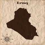 Iraq old map with grunge and crumpled paper. Vector illustration Stock Photos