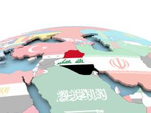 Flag of Iraq on bright globe. Iraq on political globe with embedded flags. 3D illustration Stock Photo