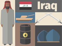 Iraq poster. Flat icon. Vector template Stock Photography