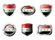 Iraq set shiny buttons and shields of flag Stock Image