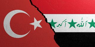 Iraq and Turkey flag, plastered wall background. 3d illustration. Iraq and Turkey relationship. Flags on plastered wall background. 3d illustration Royalty Free Stock Photography