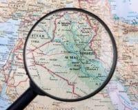 Iraq under magnifier Stock Image