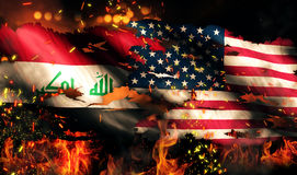 Iraq USA Flag War Torn Fire International Conflict 3D Stock Images