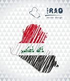 Iraq vector map with flag inside isolated on a white background. Sketch chalk hand drawn illustration. Vector sketch map of Iraq with flag, hand drawn chalk Stock Illustration