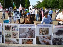 Iraqi Army Brutality. Photo of protesters at the white house on 5/28/11 protesting executions of mek members by the iraqi army.  This is the latest in a series Royalty Free Stock Photos