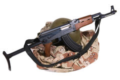 Iraqi Army Uniform and AK47 Rifle Royalty Free Stock Image