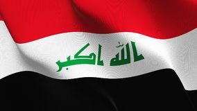Iraq flag waving on wind. royalty free illustration