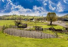 Iraqi countryside in spring. Iraqi countryside with circular fence inside near Duhok city Stock Photos