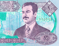 Iraqi dinar. Fragment of the Iraqi banknote with Saddam Royalty Free Stock Photos