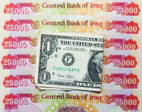 Iraqi Dinars and American Dollar Royalty Free Stock Photo