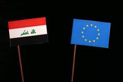 Iraqi flag with European Union EU flag  on black. Background Stock Photo