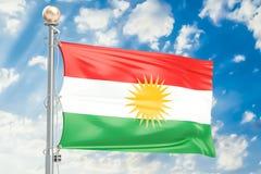 Iraqi Kurdistan flag waving in blue cloudy sky, 3D rendering Royalty Free Stock Photography