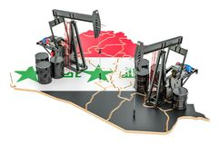 Iraqi map with oil barrels and pumpjacks. Oil production concept. 3D vector illustration