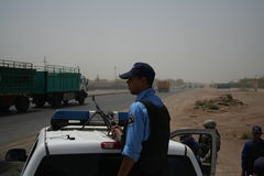 Iraqi Police Checkpoint Overwatch royalty free stock photos