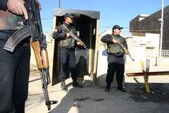 Iraqi Policemen in Kirkuk Stock Images