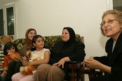 An Iraqi refugee family at home, Cario Stock Image