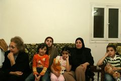 An Iraqi refugee family at home, Cario Stock Images