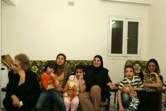 An Iraqi refugee family at home, Cario Royalty Free Stock Image
