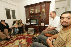 An Iraqi refugee family at home, Cario Royalty Free Stock Images