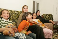 An Iraqi refugee family at home, Cario Stock Photography