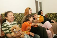 An Iraqi refugee family at home, Cario Stock Photo