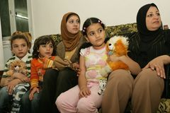 An Iraqi refugee family at home, Cario Stock Photos