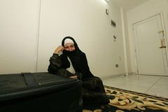 An Iraqi refugee woman at her home, Cairo. Royalty Free Stock Photography