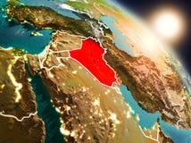 Iraque do espaço durante o nascer do sol ilustração do vetor