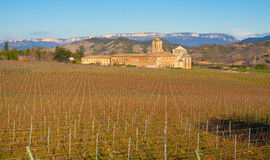Iratxe monastery and vineyards. Stock Photos
