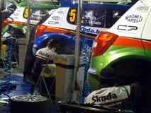 IRC 2011 - Servicio de SKODA MOTORSPORT Fotos de archivo libres de regalías