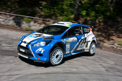 IRC PRIME Yalta Rally 2011. Yalta, UKRAINE - JUNE 4: Alex Tamrazov and Ivan German (co-driver) drives their Ford Fiesta Super 2000 during the IRC PRIME Yalta Royalty Free Stock Photography