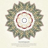 Сircular ornament frame with floral leaves. Mandala. Stylized lace ornament. Delicate floral background for greeting cards. Royalty Free Stock Photo
