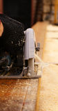 Сircular saw. Construction work on the saw cut the wood Stock Photos