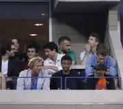 Irector Spike Lee asiste al partido en el US Open 2013 entre Roger Federer y Adrian Mannarino Foto de archivo