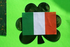 Ireland. Irish flag pasted on top of a cloverleaf Royalty Free Stock Image