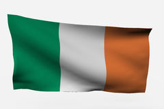 Ireland 3d flag. Isolated on white background Stock Photos