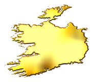 Ireland 3d Golden Map Royalty Free Stock Photo