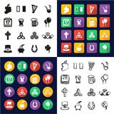 Ireland All in One Icons Black & White Color Flat Design Freehand Set Stock Image
