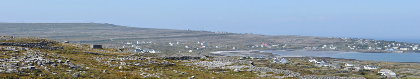 Ireland Aran island Kilronan panorama. Inishmore, Ireland Aran island Kilronan panorama surrounded by stone walls and cows Stock Images