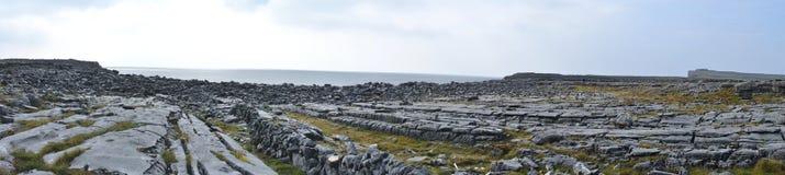 Ireland Aran island rocks panorama Royalty Free Stock Photo