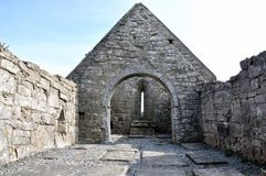Ireland Aran island ruin church panorama1 Stock Photography