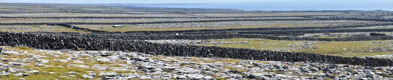 Ireland Aran island stone walls panorama. A lacework of ancient stone walls (1,600 km or 1,000 mi in all) enfolds all three islands to contain local livestock Stock Photos