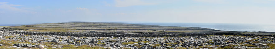 Ireland Aran island stone walls panorama 1. A lacework of ancient stone walls (1,600 km or 1,000 mi in all) enfolds all three islands to contain local livestock Royalty Free Stock Image