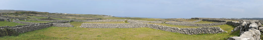 Ireland Aran island stone walls panorama 2. A lacework of ancient stone walls (1,600 km or 1,000 mi in all) enfolds all three islands to contain local livestock Stock Photos