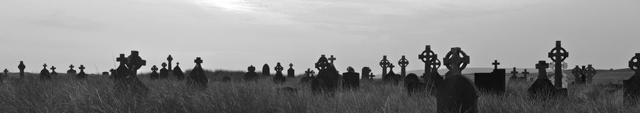 Ireland cemetery at sunset panorama BW Royalty Free Stock Photo