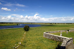 Ireland - Clonmacnoise. Shannon river view from Clonmacnoise monastic settlement Stock Photo