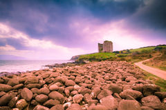 Ireland Coast and Castle Ruins Stock Images